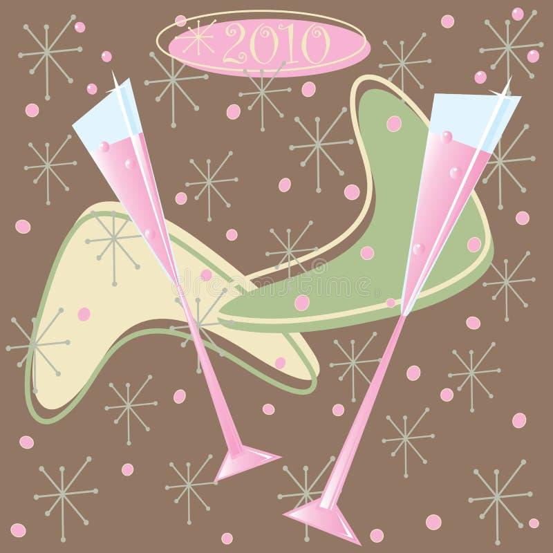 Glücklicher 2010 Retro- Champagne-Toast vektor abbildung