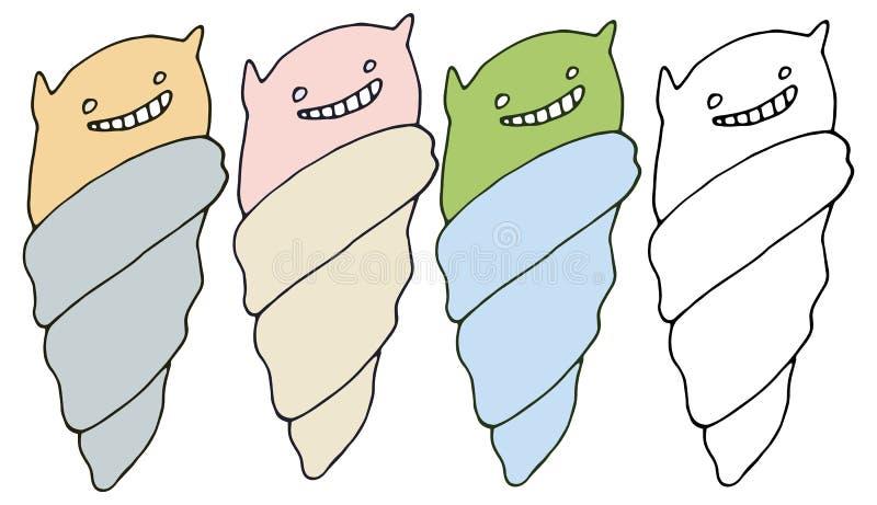 Glücklicher abgehobener Betrag des Druckkarikaturgekritzel-Farbsatz-Eiscreme-Monsters Hand vektor abbildung