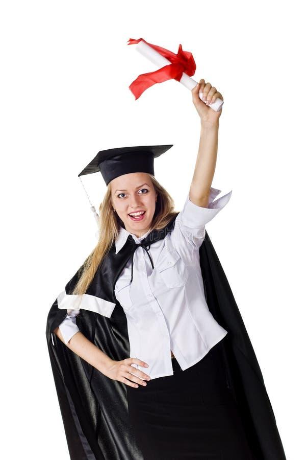 Glücklicher Absolvent mit Bescheinigung lizenzfreies stockbild