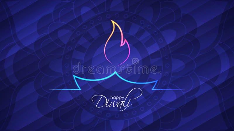 Glücklicher abstrakter heller Hintergrund Diwali mit dekorativem Muster der ethnischen runden Verzierung vektor abbildung