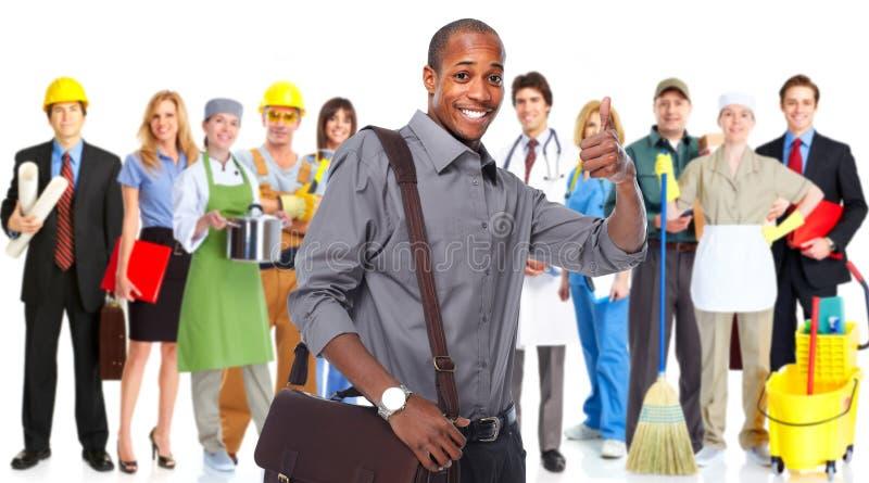 Glücklicher Afroamerikaner-Geschäftsmann stockbilder