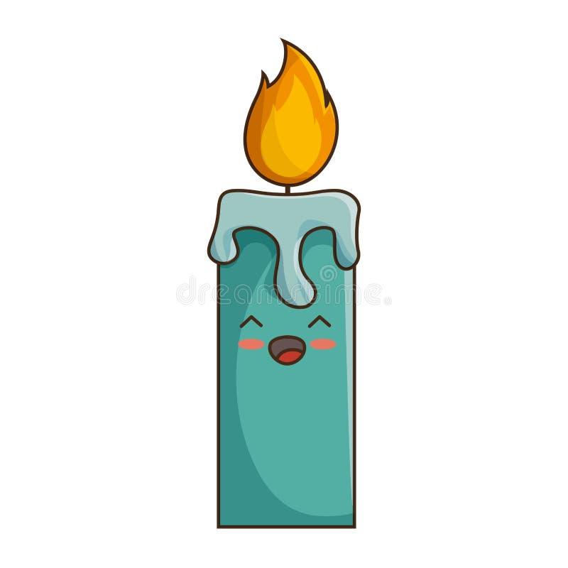 glücklicher Artcharakter kawaii Kerze der frohen Weihnachten lizenzfreie abbildung