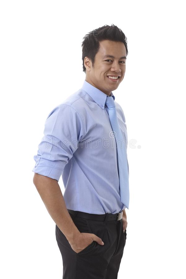 Glücklicher asiatischer Geschäftsmann stockbilder