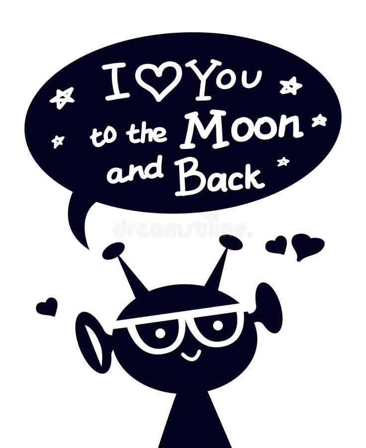 Glücklicher ausländischer Charakter mit zum Mond und zur Rückseite ich liebe dich beschriften stock abbildung