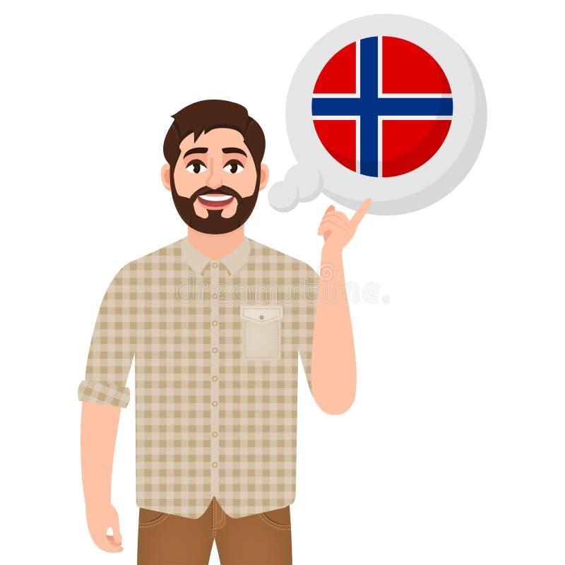 Glücklicher bärtiger Mann sagt oder denkt an Land Norwegen, Ikone des europäischen Landes, Reisenden oder Touristen stock abbildung