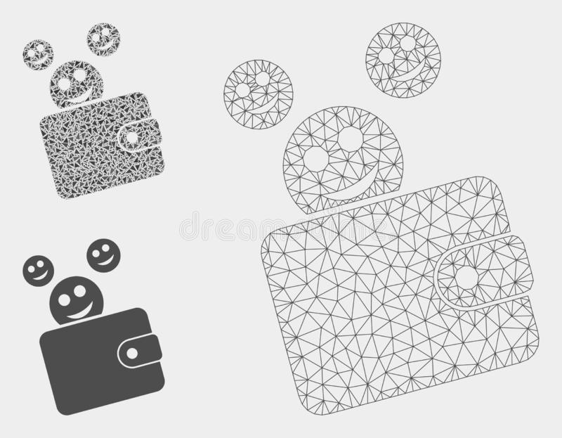 Glücklicher Bargeld-Geldbörsen-Vektor Mesh Carcass Model und Dreieck-Mosaik-Ikone stock abbildung