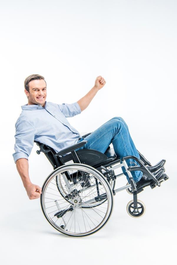 Glücklicher behinderter Mann stockfotos