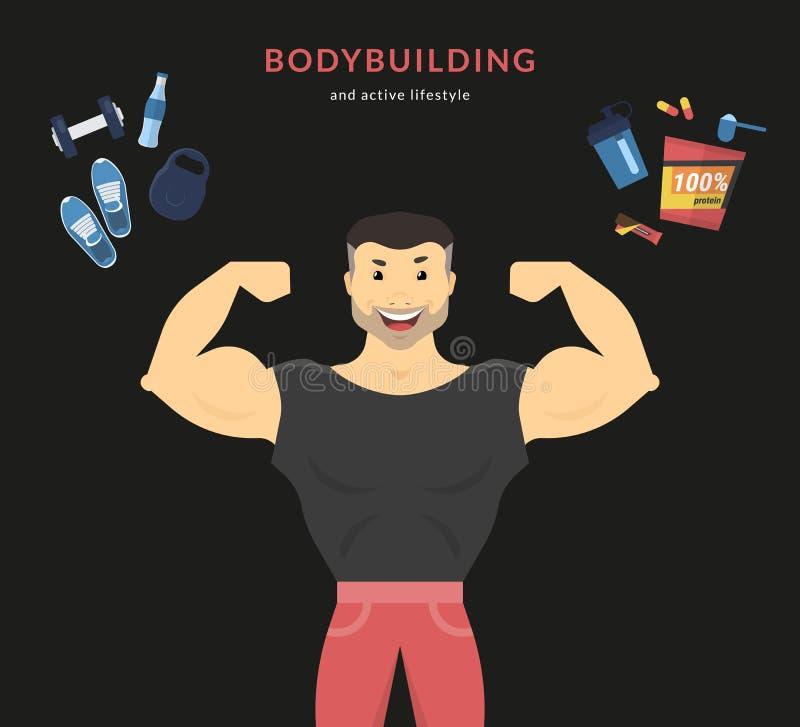 Glücklicher Bodybuilder, der Übung tut und seine Muskeln demonstriert vektor abbildung