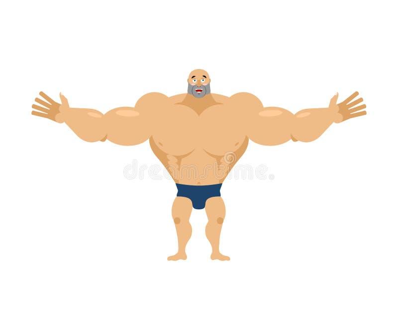 Glücklicher Bodybuilder fröhlicher Sportler Glad Athlete lokalisierte fitne vektor abbildung