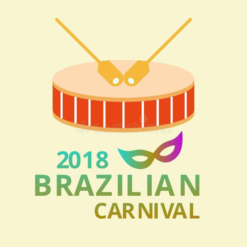 Glücklicher brasilianischer Karnevals-Tag Karnevalszirkustrommeln mit colorfu vektor abbildung