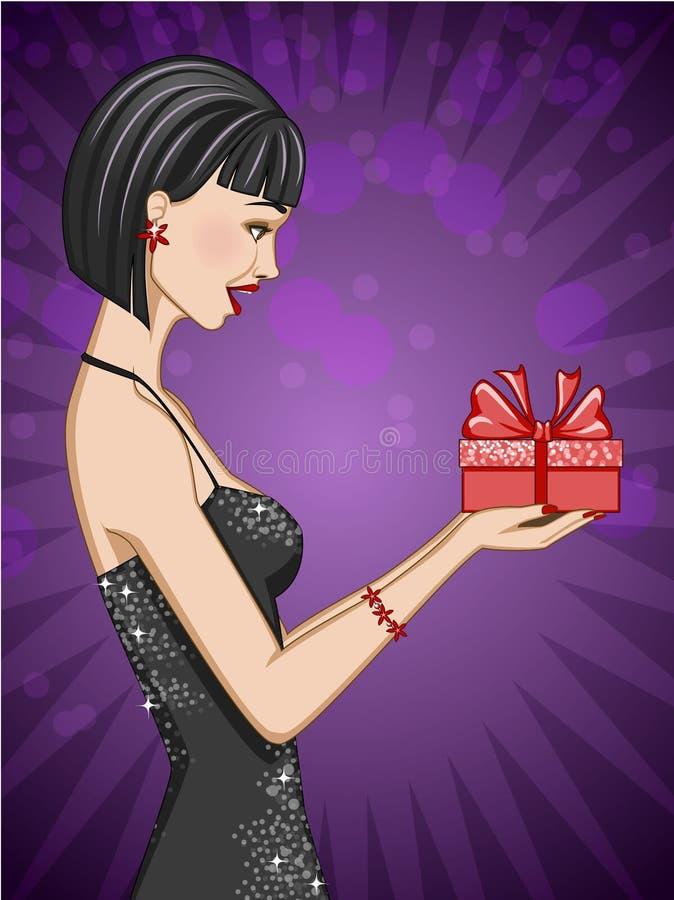 Glücklicher Brunette, der eine eingewickelte Geschenkbox hält; auf purpurrotem Hintergrund lizenzfreie abbildung