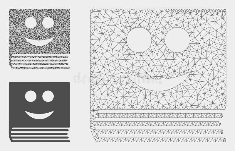 Glücklicher Buch-Vektor Mesh Carcass Model und Dreieck-Mosaik-Ikone stock abbildung