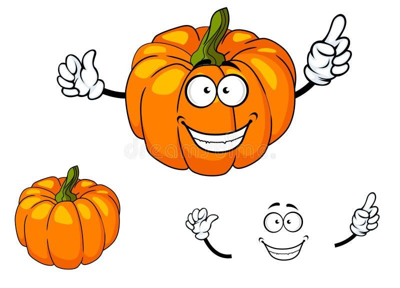 Glücklicher bunter orange Karikaturkürbis lizenzfreie abbildung