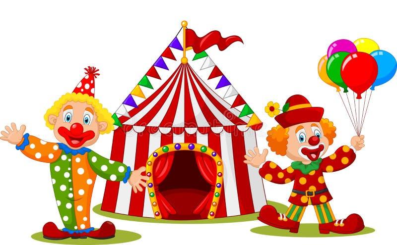 Glücklicher Clown der Karikatur vor Zirkuszelt vektor abbildung