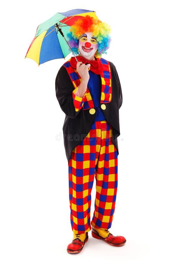 Glücklicher Clown mit Regenschirm lizenzfreies stockfoto