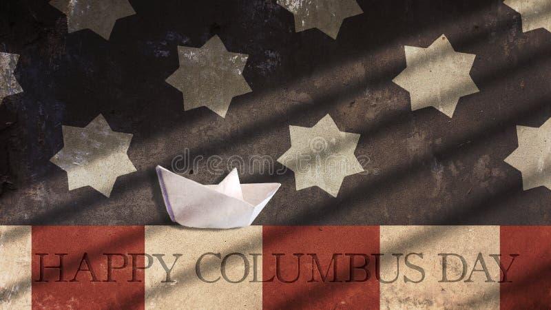 Glücklicher Columbus-Tag Papierboots-Segeln mit Flagge stock abbildung