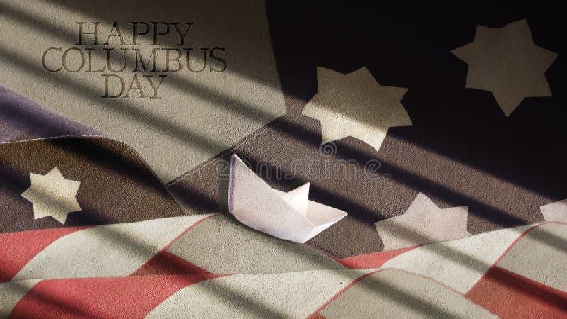 Glücklicher Columbus-Tag USA-Flaggen-Wellen lizenzfreie stockfotografie