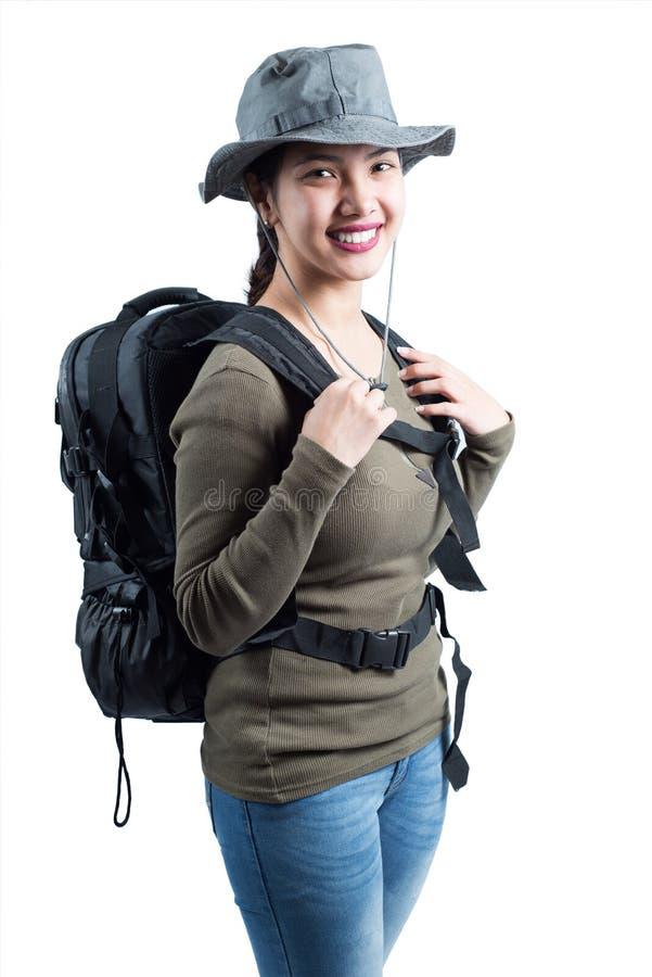 Glücklicher Damenwanderer lizenzfreie stockfotografie