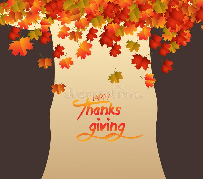 Glücklicher Danksagungs-Tag Abstrakter Baum, Schokoladenkuchenherbstlaubfallen stock abbildung