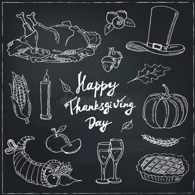 Glücklicher Danksagungs-Tag Hand gezeichneter Feiertags-Gestaltungselement-Satz stock abbildung