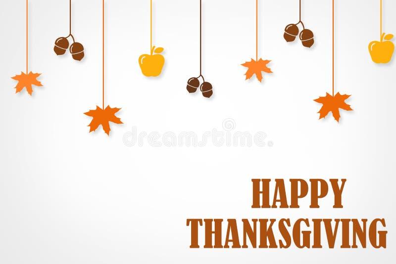 Glücklicher Danksagungs-Tagestypografische Plakat-Entwurfsschablone Danke Grußkartenschablone Hintergrund voll von den Niederlass lizenzfreie abbildung