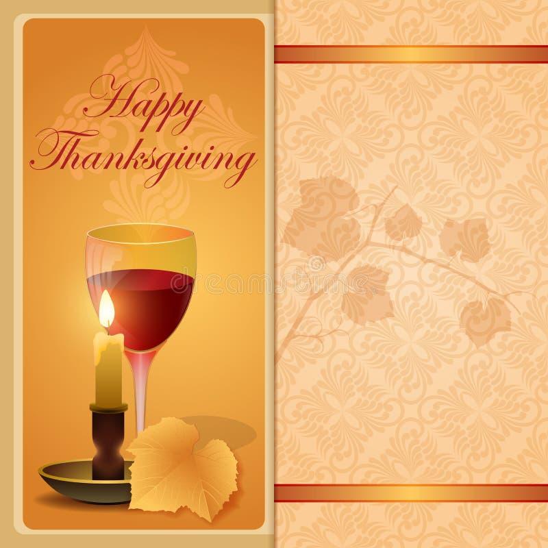 Glücklicher Danksagungshintergrund mit Weinblatt stock abbildung