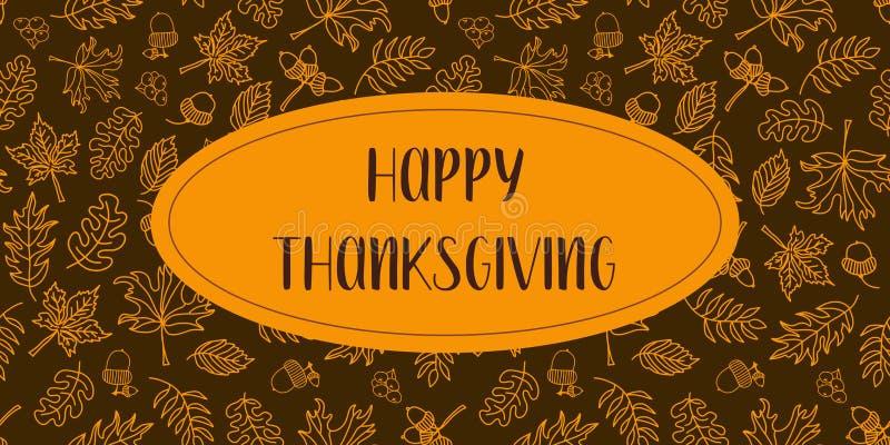 Glücklicher Danksagungstextvektor mit Herbstlaub stock abbildung