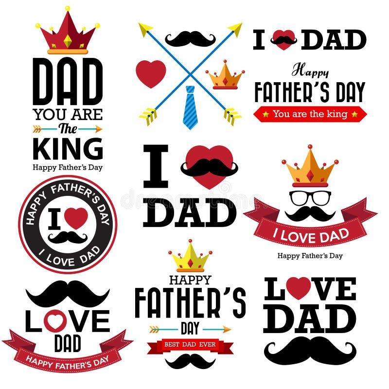 Glücklicher der Vatertags-typografischer Hintergrund lizenzfreie abbildung