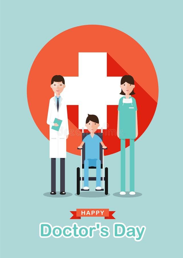 Glücklicher Doktor ` s Tag mit Karikaturdoktormännern, unterzeichnen Doktorfrauen, Patient auf Rollstuhl und weißes Kreuzplus im  stock abbildung