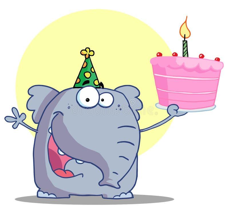 Glücklicher Elefant hält Geburtstagkuchen an vektor abbildung
