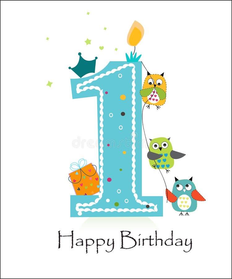 Glücklicher erster Geburtstag mit Eulenbaby-Grußkartenvektor lizenzfreie abbildung