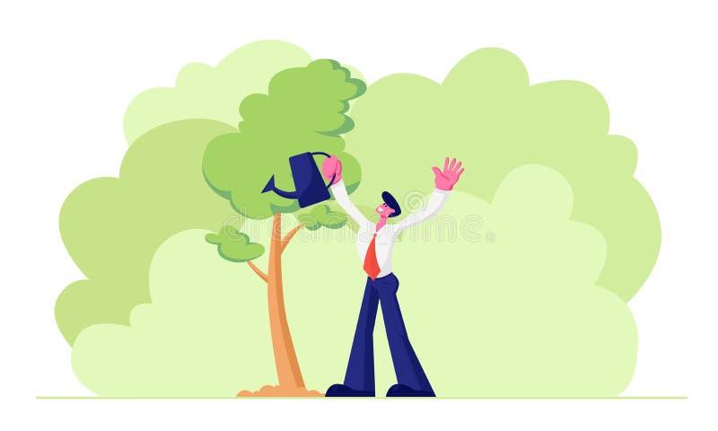 Glücklicher erwachsener Geschäftsmann-Charakter-tragende Gesellschaftsanzug-Bewässerungsbäume im Garten mit Wasserkanister Lebens lizenzfreie abbildung