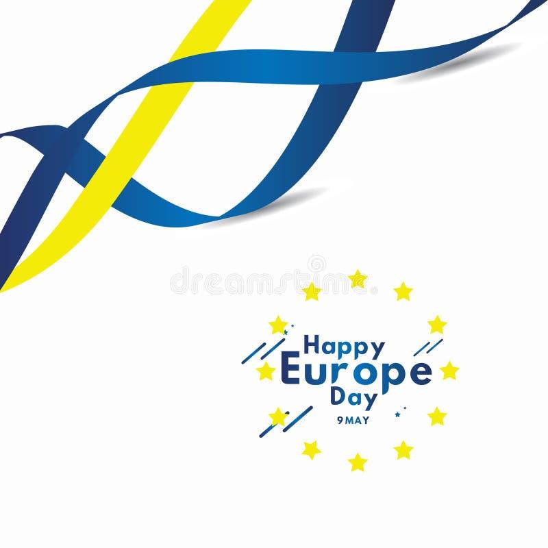Glücklicher Europa-Tag feiern Flaggen-Vektor-Schablonen-Entwurfs-Illustration vektor abbildung