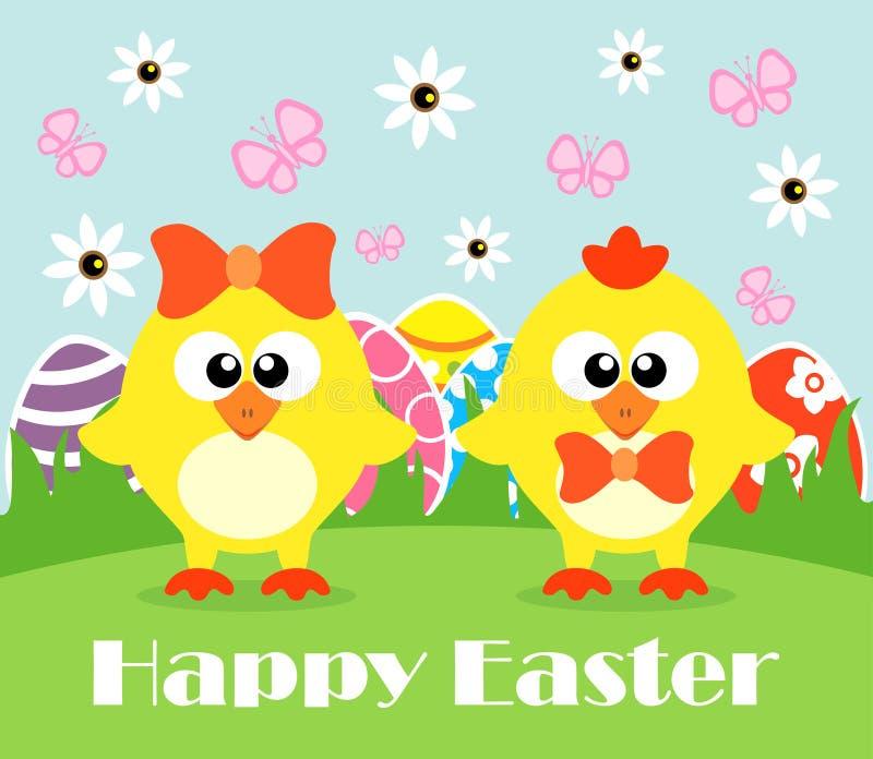 Glücklicher Feiertag Ostern, lustige Hühner stock abbildung