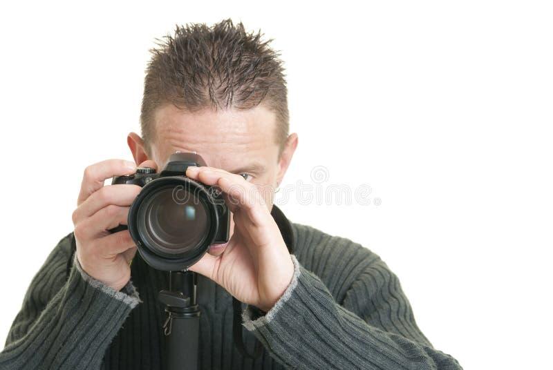 Glücklicher Fotograf stockfoto