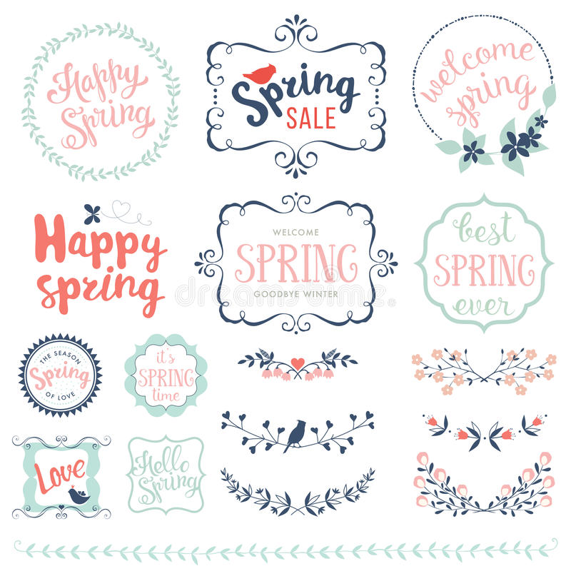 Glücklicher Frühlings-Satz lizenzfreie stockfotos