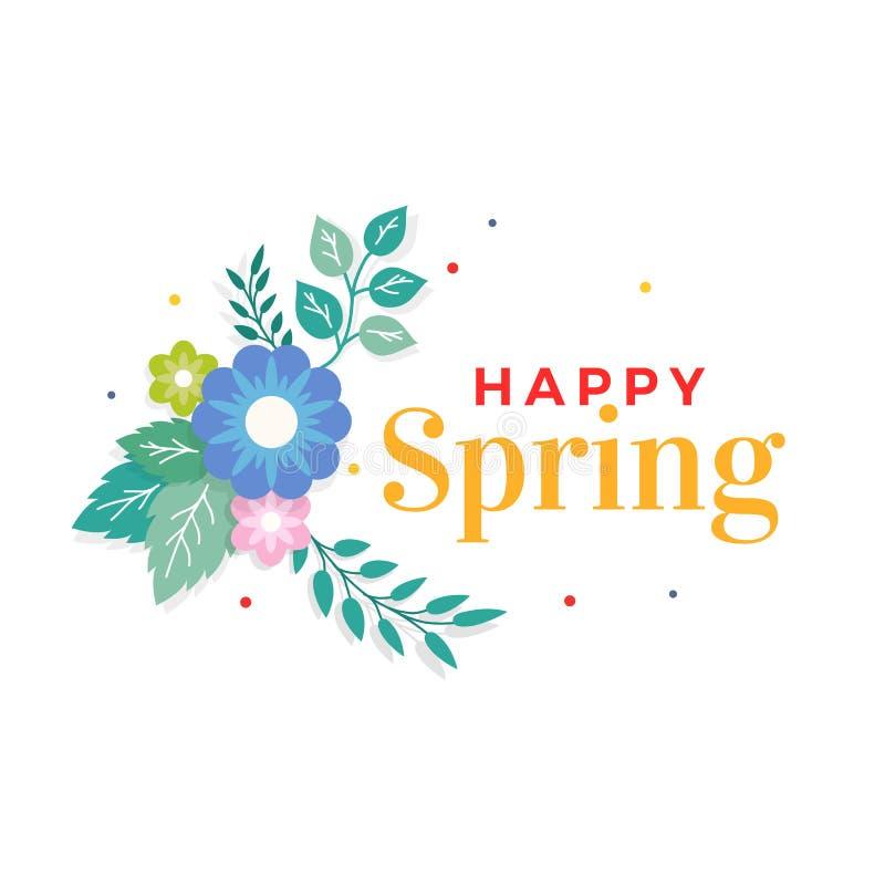 Glücklicher Frühlings-Text mit bunter Blumenstrauß-Blumen-Anordnung und Blatt-Verzierung Gruß-Karte, Hintergrund, Plakat, Fahnen- stock abbildung