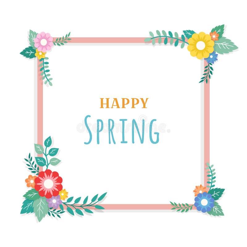 Glücklicher Frühlings-Text mit Rahmen der Blumenstrauß-Blumen-Anordnung und der Blatt-Verzierung Gruß-Karte, Hintergrund, Plakat, lizenzfreie abbildung