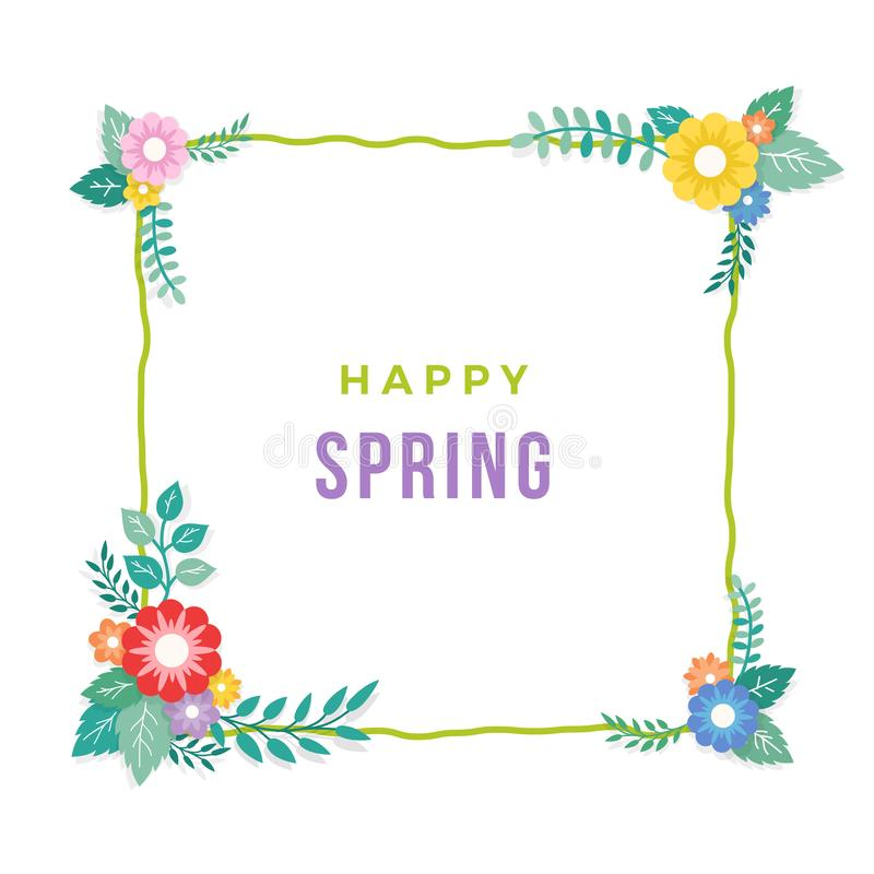 Glücklicher Frühlings-Text mit Rahmen der Blumenstrauß-Blumen-Anordnung und der Blatt-Verzierung Gruß-Karte, Hintergrund, Plakat, vektor abbildung