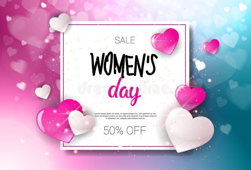 Glücklicher Frauen-Tagesverkaufs-Urlaubseinkäufe-Förderungs-Kupon-Design-Rabatt-Plakat-Hintergrund stock abbildung