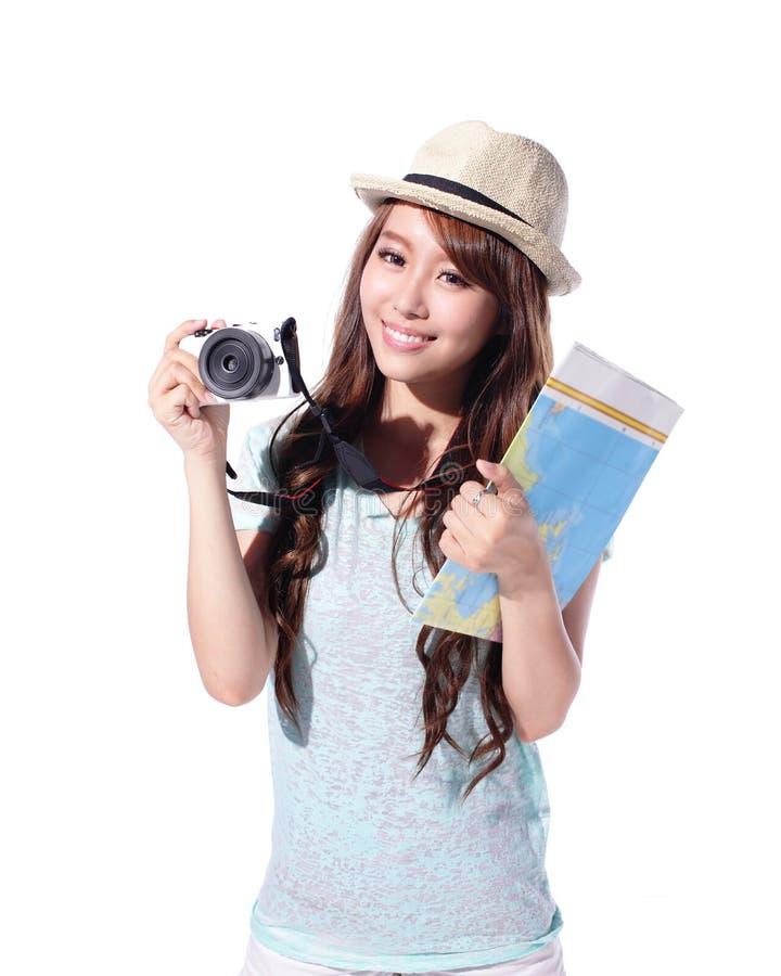 Glücklicher Frauentourist stockfoto