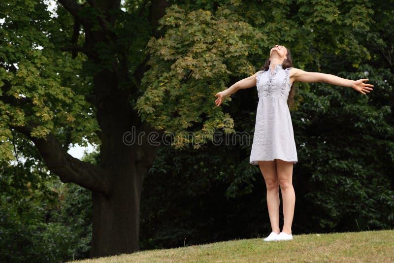 Glücklicher freier Moment der jungen Frau in der Landsonne stockbild