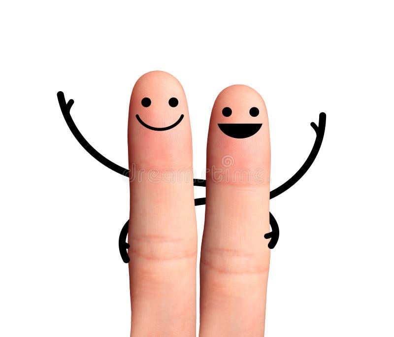 Glücklicher Freund, der, lokalisiert mit Beschneidungspfaden sich umarmt. stockfoto
