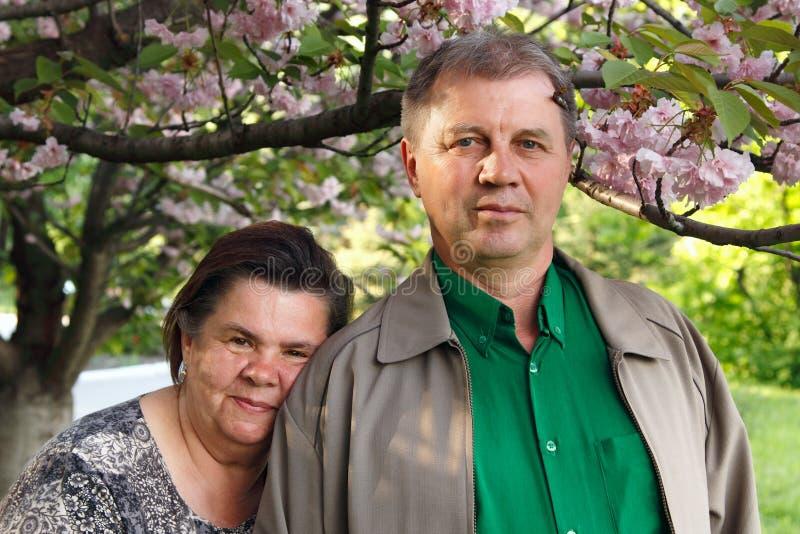 Glücklicher Garten der Umarmung der fälligen Paare im Frühjahr stockbild