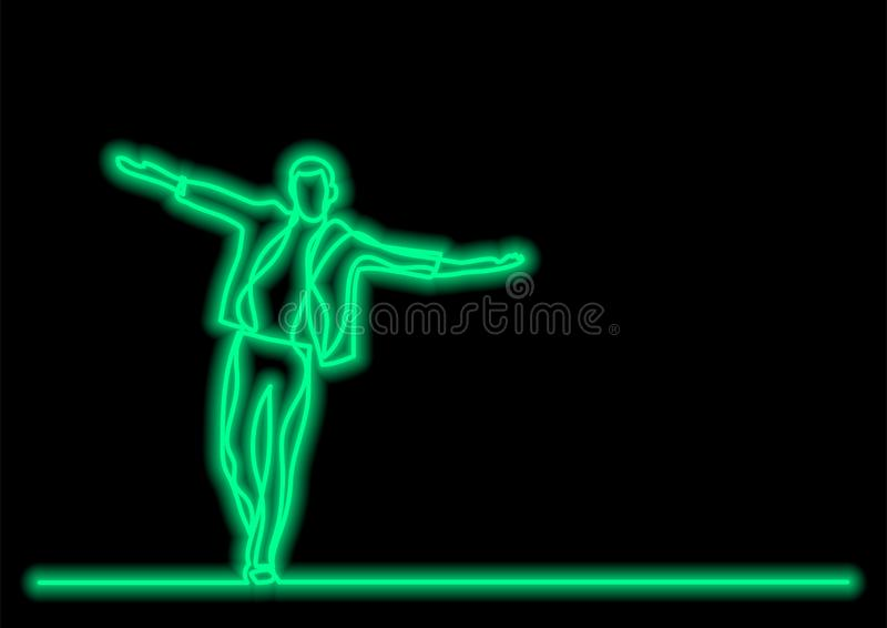 Glücklicher gehender Mann - Federzeichnung der einzelnen Zeile mit Neonvektoreffekt stock abbildung
