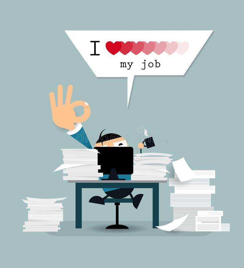 Glücklicher Geschäftsmann arbeitet schwer mit Liebe des Textes I meinen Job vektor abbildung
