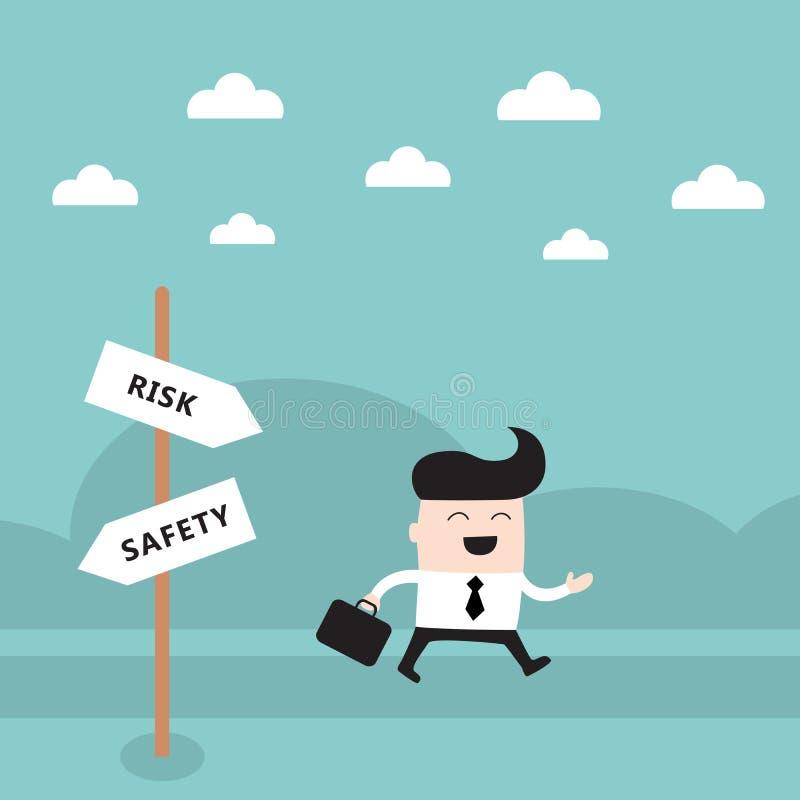 Glücklicher Geschäftsmann auf der Straße nehmen ein Risikokonzept lizenzfreie abbildung