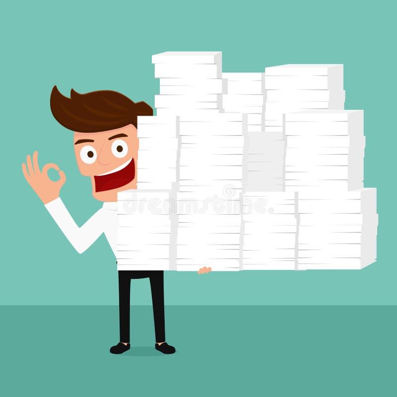 Glücklicher Geschäftsmann, der in der Hand viele Papier hält und schwer arbeitet lizenzfreie abbildung