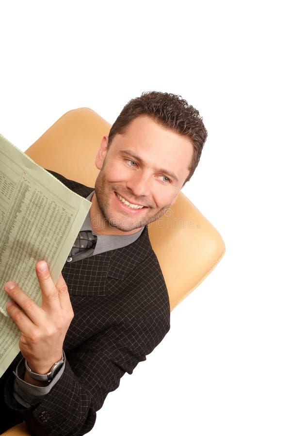 Glücklicher Geschäftsmann der glücklichen Nachrichten stockfotos
