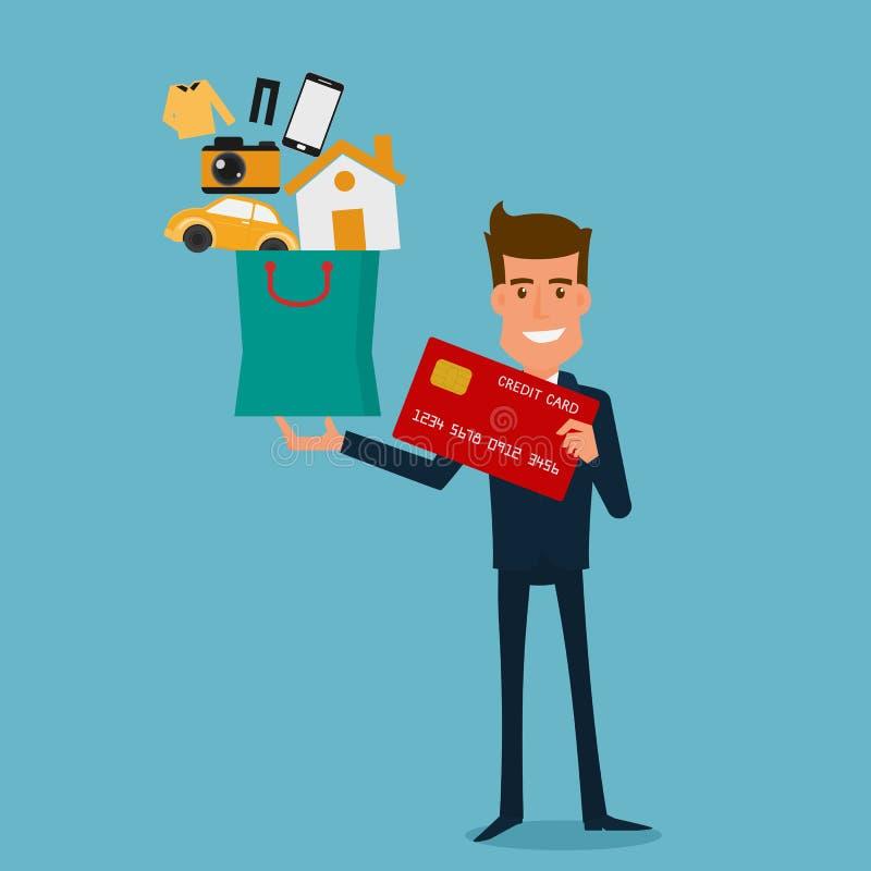 Glücklicher Geschäftsmann, der Kreditkarte und Einkaufstasche mit Ikonen hält Flache Designart stock abbildung